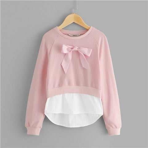 Girls Pink Bow Front Casual Sweatshirts
