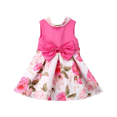 Bowknot Rose Petal Birthday Dress for Little Girls - Debbie's Kids Boutique