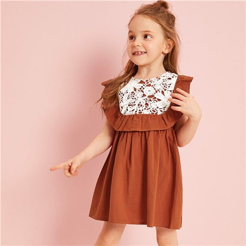 Rust Contrast Lace Ruffle Toddler Girl Dress