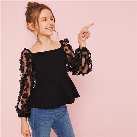 Girls Flower Applique Mesh Sleeve Party Peplum Blouse