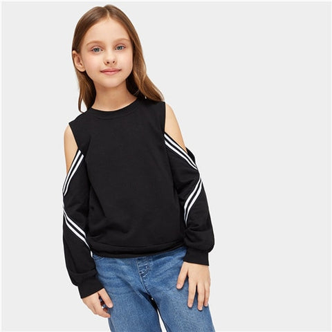Girls Black Striped Cold Shoulder Girl Sweatshirt