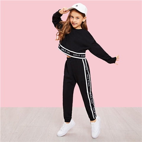 Girls Active Wear Lettering Trim Casual Pullover And Pants Set