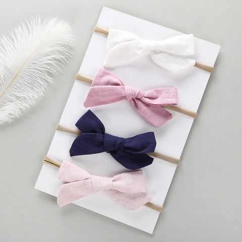 Hand Tied Cotton Linen Hair Bow 4pcs/set