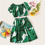 Girls Green Scoop Neck Tropical Print Crop Blouse And Skirt set
