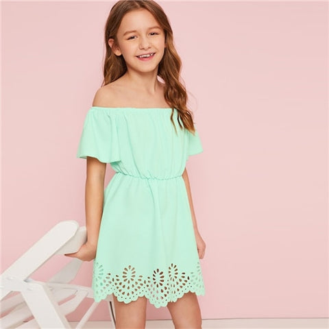 Girls Green Solid Off The Shoulder Cut Out Boho Dress