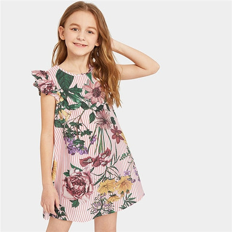 Ruffle Cap Sleeve Floral Stripe Boho Girl Short Dress