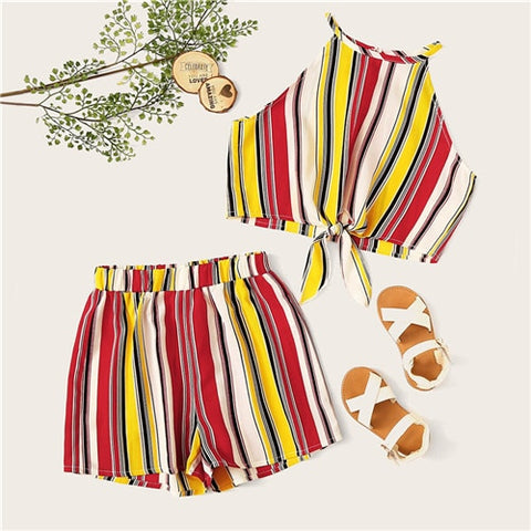 Knot Hem Striped Halter Top And Elastic Wast Shorts Vacation Sets
