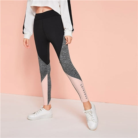 Girls Active Wear Color block Leggings