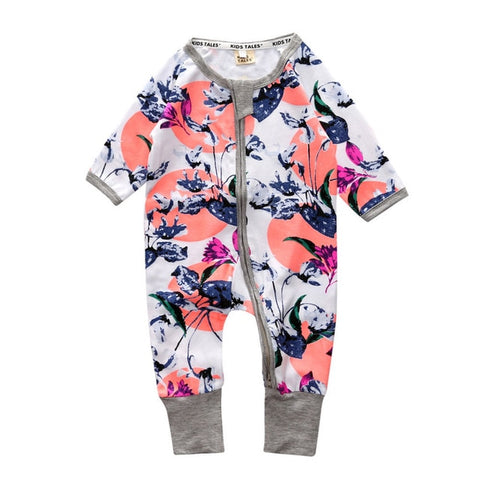 Baby Zipper Floral Romper - Debbie's Kids Boutique