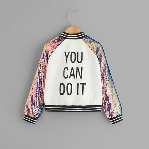 Girl's Sequin Raglan Sleeve Zipper Slogan Letter Print Girls Jacket