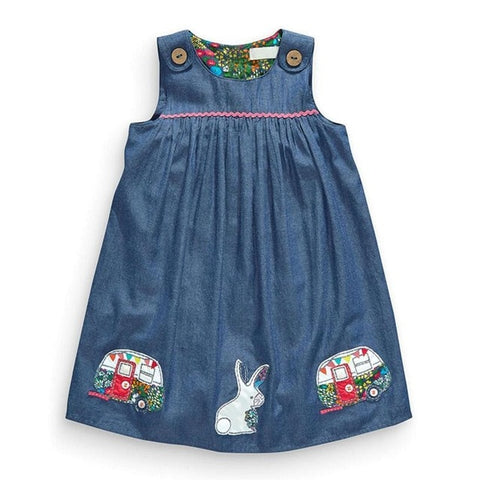 Embroidered Denim Little Girl Dress - Debbie's Kids Boutique
