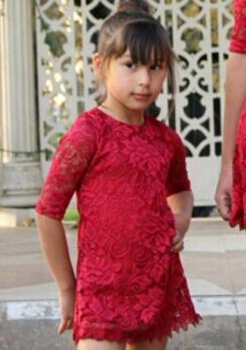 Mother and Daughter Red Lace Dress