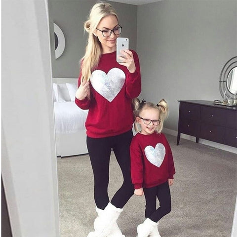 Mommy and Me Love heart Sweatshirt