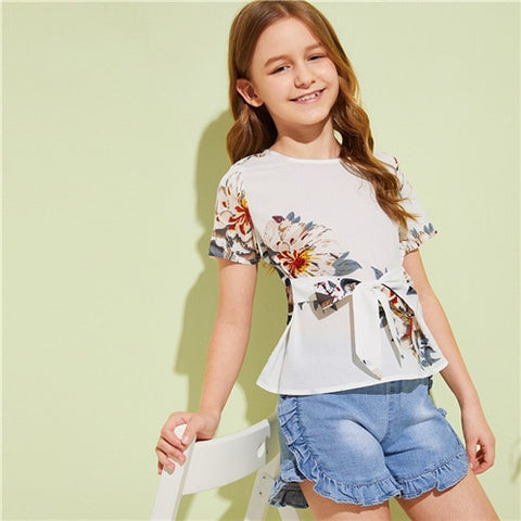 Girl's White Floral Print Tie Front Boho Blouse