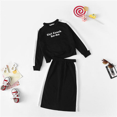 Girls Black Letter Print Casual Top And Skirt Two Piece Set