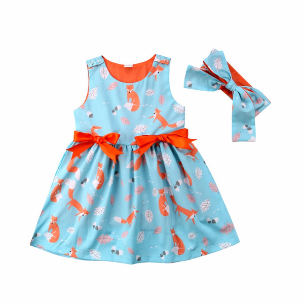 Little Fox Printed Girls Dress & Headband set