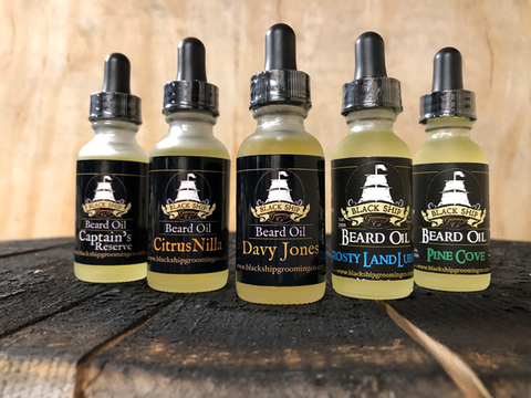 A collection of Blackship Grooming high quality beard oil.