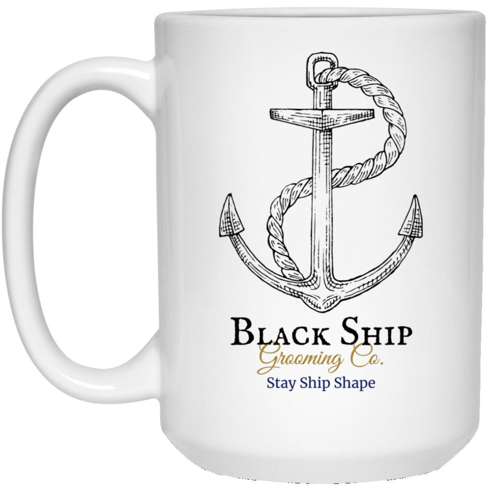 Stay Ship Shape anchor (1) First Mate's 15 oz. White Mug - Black Ship Grooming Co.