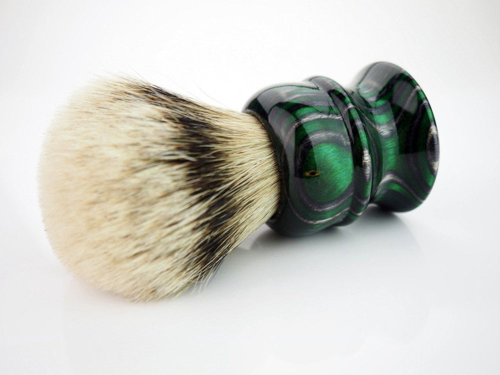 Whaler Shaving Brush 28mm Two Band Badger Man of War Color - Black Ship Grooming Co.