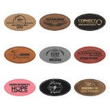 LASERABLE LEATHERETTE OVAL NAME BADGE WITH MAGNET