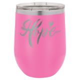 VACUUM INSULATED STEMLESS WINE GLASS - PERSONALIZE - 15 COLORS AVAILABLE