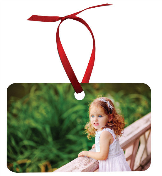 RECTANGLE (LANDSCAPE) 2 SIDED METAL ORNAMENT WITH RED RIBBON