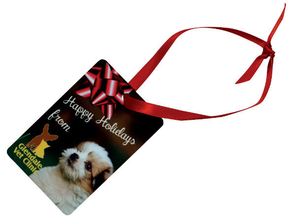 RECTANGLE (PORTRAIT) 2 SIDED METAL ORNAMENT WITH RED RIBBON