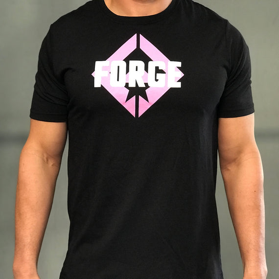Men's Black Tee Pink Logo