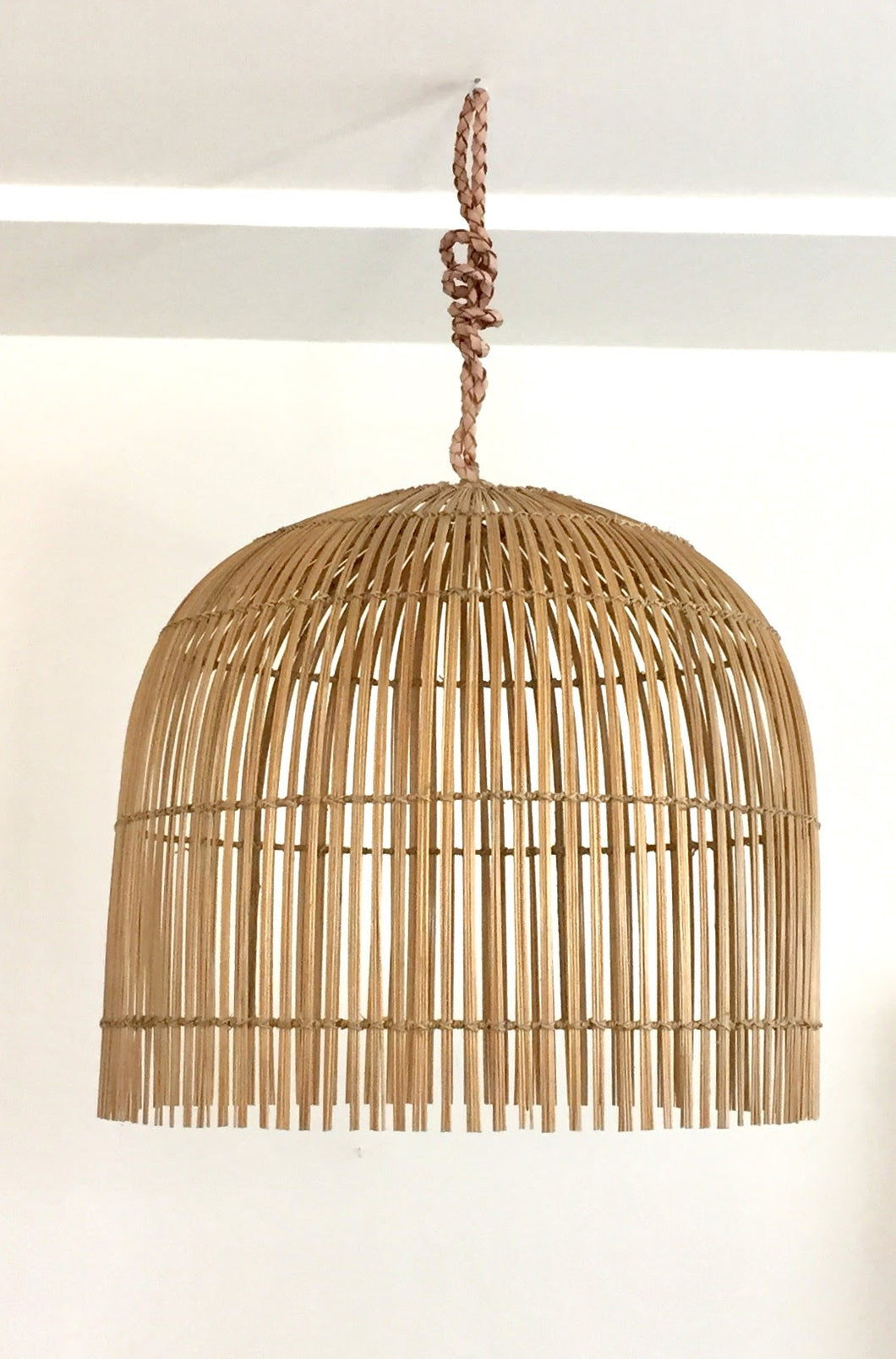 Bamboo lamp shade with leather strap btikboho bamboo lamp shade with leather strap mozeypictures Gallery