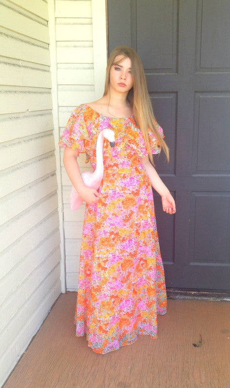 Long Chiffon Floral Dress