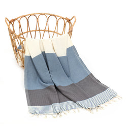 Beyza Turkish Cotton Towel Blue-Gray