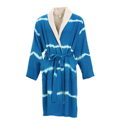 Dila With Terry Bamboo Bathrobe Navy Blue