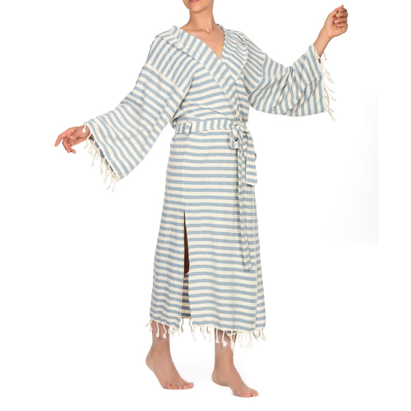 Melisa Bathrobe With Hood Sky Blue