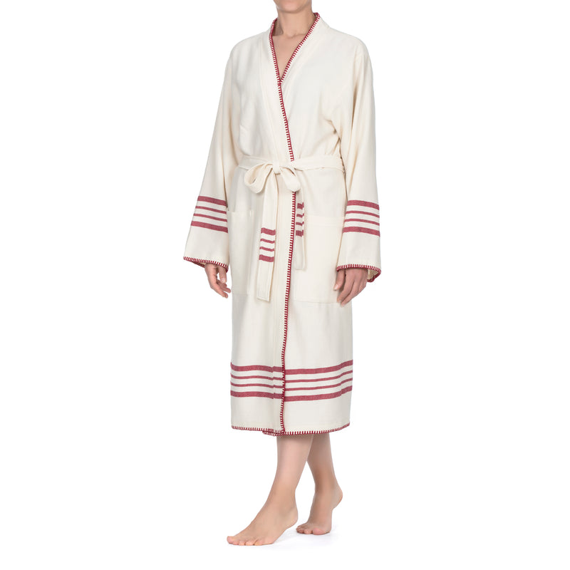 Su Luxury Bathrobe White-Bordeaux