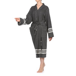 Azra Cotton Bathrobe Black