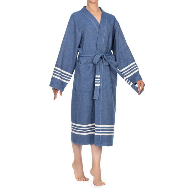 Azra Cotton Bathrobe Royal Blue