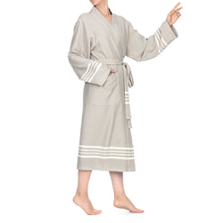 Azra Cotton Bathrobe Beige