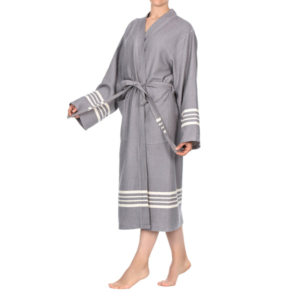 Azra D. Gray Cotton Bathrobe