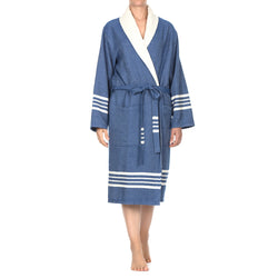 Toprak With Terry Bathrobe Royal Blue