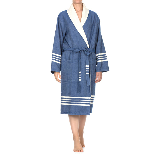 Toprak With Terry Cotton Bathrobe Royal Blue