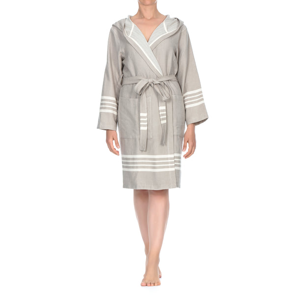 Toprak With Hood Bathrobe Beige