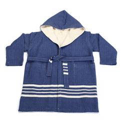 Ada Bathrobe With Hood Navy Blue