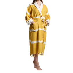 Dila with terry turkish cotton bathrobe