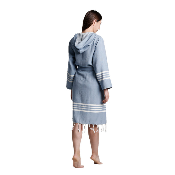Toprak With Hood Bathrobe Sky Blue