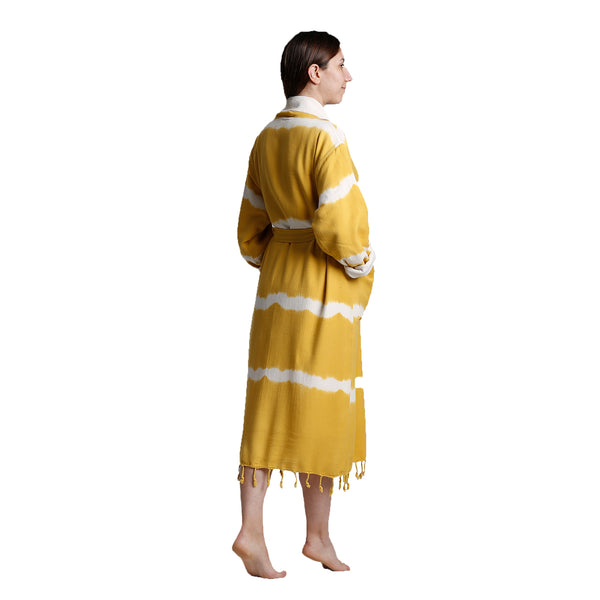 Dila With Terry Bamboo Bathrobe Yellow
