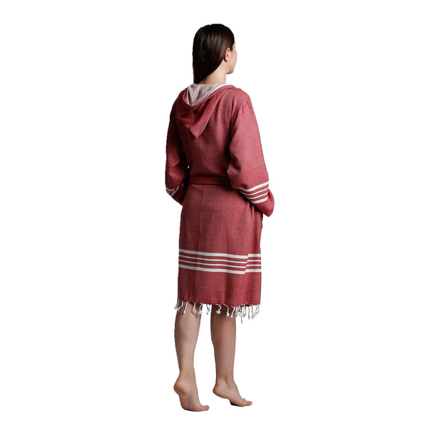 Toprak With Hood Bathrobe Bordeaux