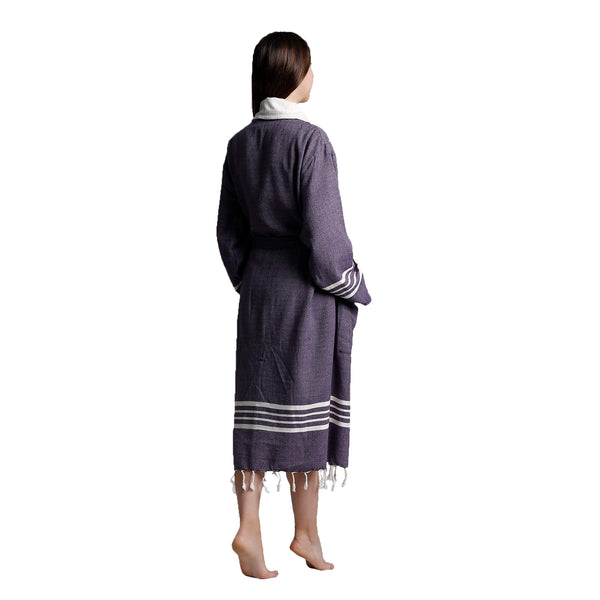 Toprak With Terry Cotton Bathrobe Dark Purple