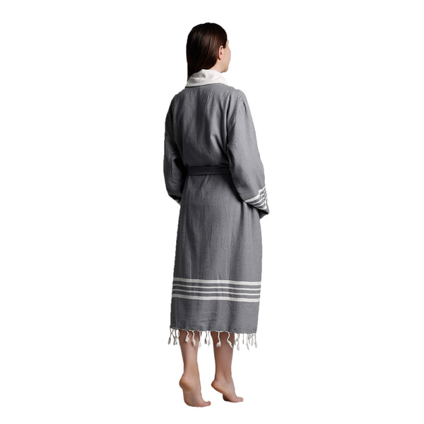 Toprak With Terry Cotton Bathrobe Dark Grey