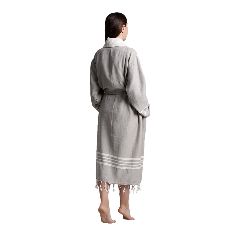 Toprak With Terry Cotton Bathrobe Beige
