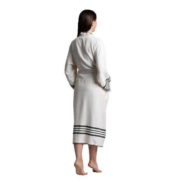 Su Luxury Bathrobe White-Black